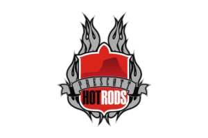 Prescott Hot Rods flame logo with white background